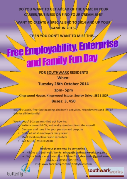 Southwark Works Employability, Enterprise and Family Fun day
