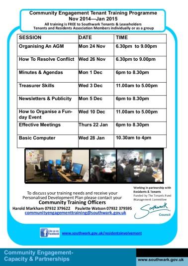 Training Programme Nov-Jan 2015