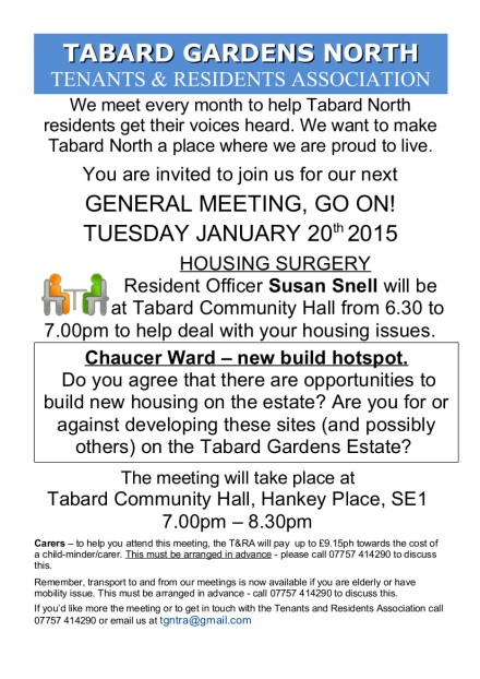 General Meeting leaflet 20th January 2015