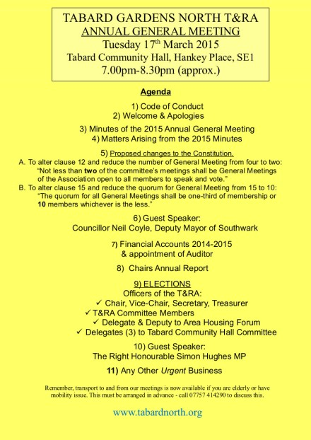 AGM final Agenda 17th March 2015