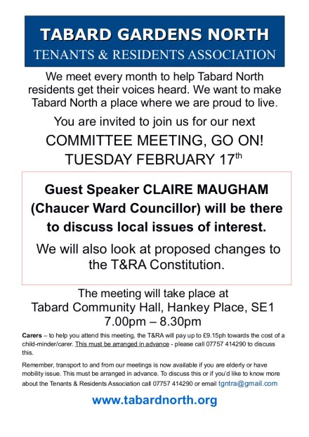 Committee Meeting leaflet 17th February 2015