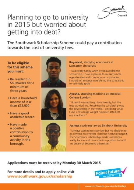 scholarship A5 flyer