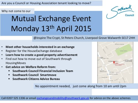 Mutual Exchange Event Flyer  Monday 13th April
