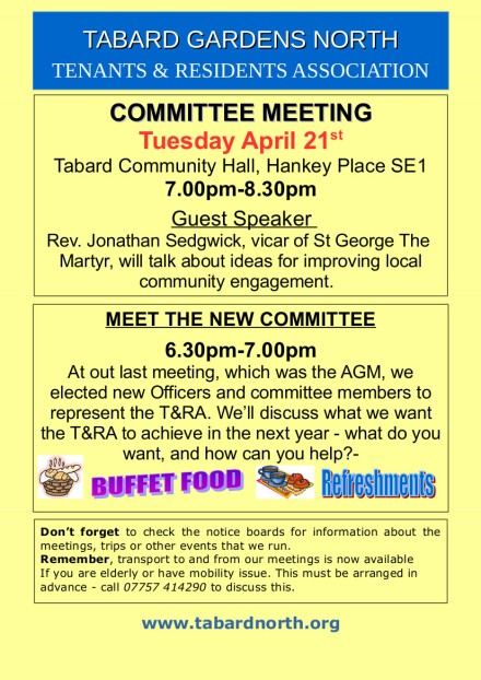 Committee Meeting poster 21st April 2015