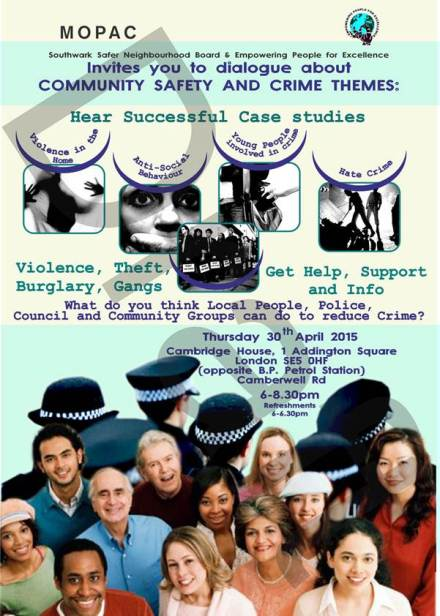SSNB CRIME AND COMMUNITY SAFETY EVENT POSTER 30TH APRIL   2015