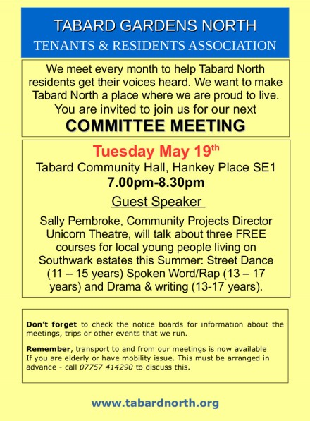 Committee Meeting poster 19th May 2015