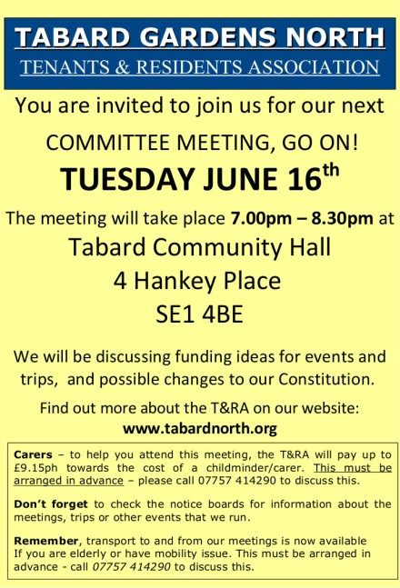 Committee Meeting leaflet 16th June 2015