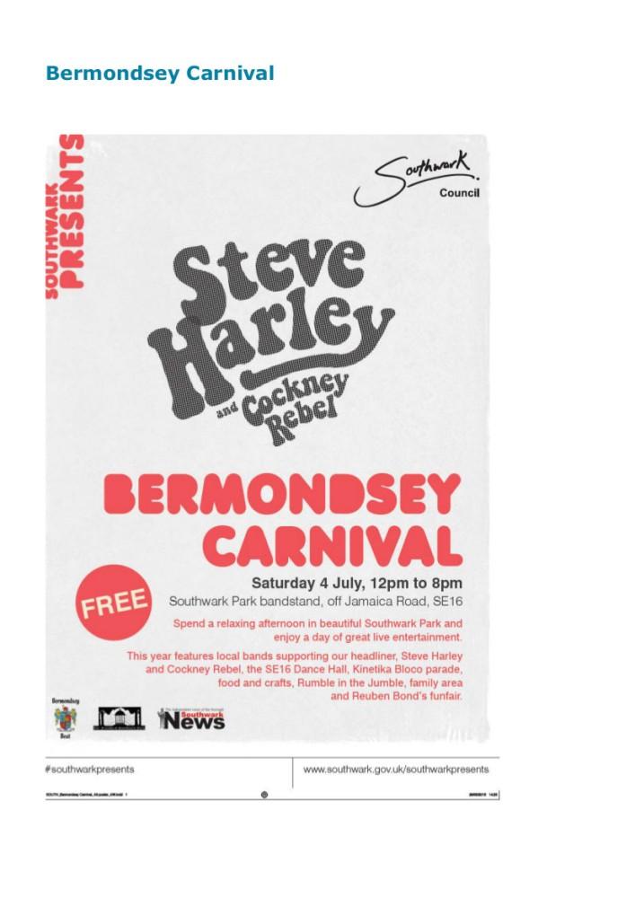 Bermondsey Carnival, Saturday 4 July, 12pm to 8pm