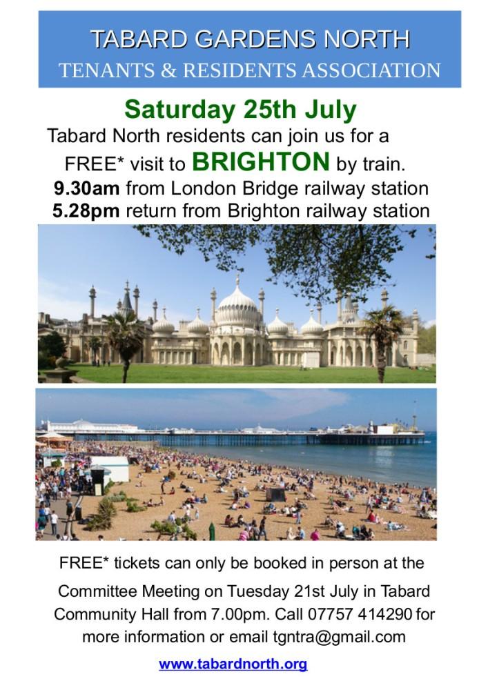 Train trip to Brighton, Saturday 25th July.