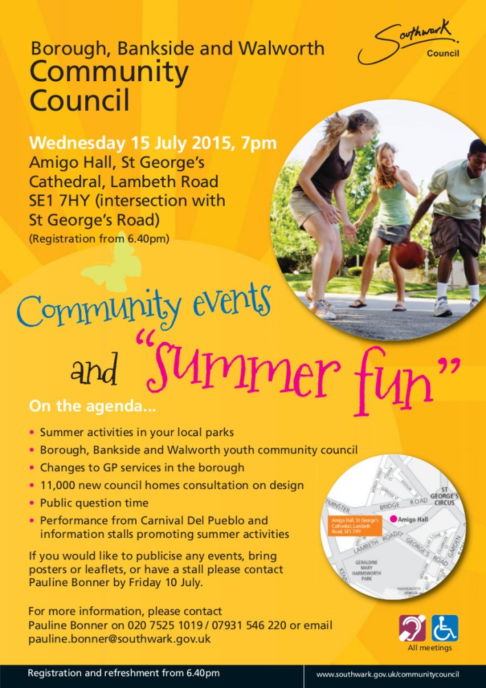 Borough, Bankside and Walworth community council,15th July 2015, 7pm.