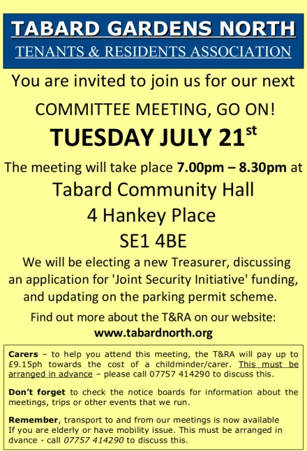 Committee Meeting leaflet 21st July 2015