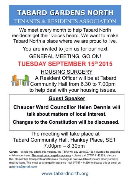 General Meeting leaflet 15th September 2015