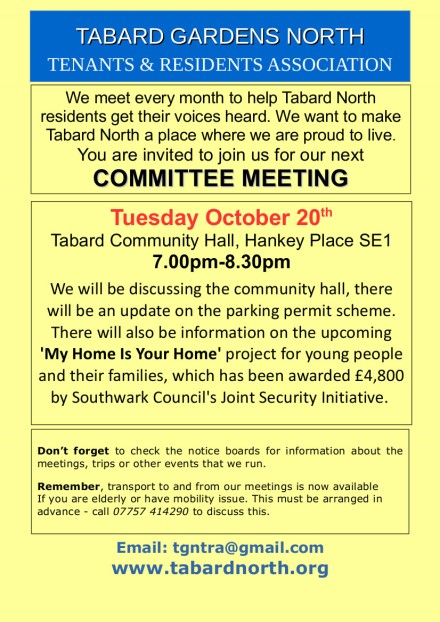 Committee Meeting poster 20th October 2015