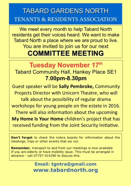 Committee Meeting poster November 17th 2015