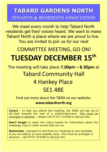 Committee Meeting leaflet 15th December 2015