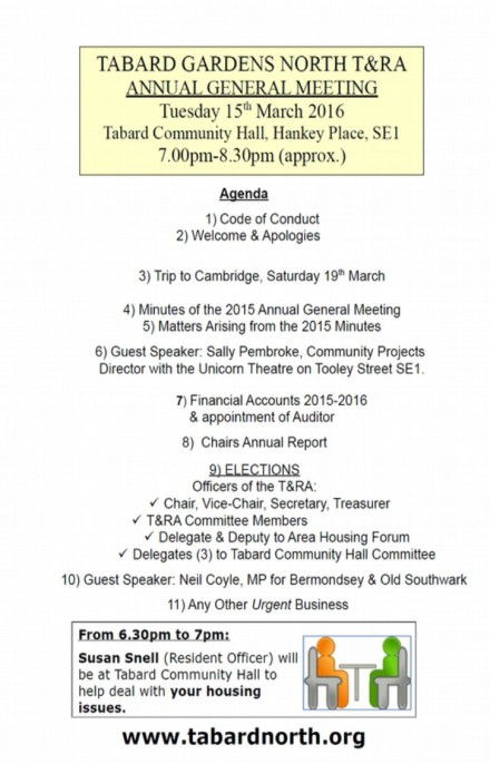 AGM Agenda 15th March 2016