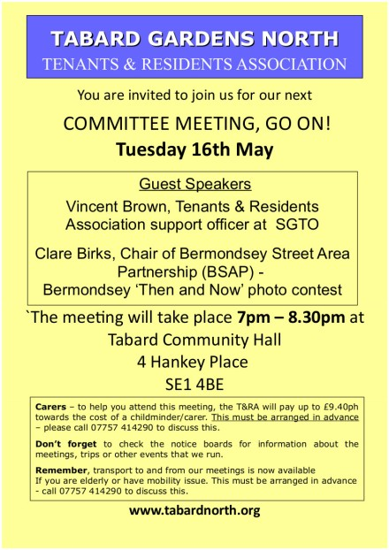 Committee Meeting 16th May