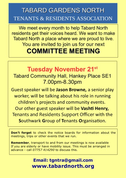 Committee Meeting poster November 21st 2017
