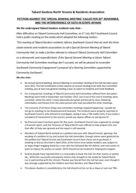Final Tabard North Petition November 2017