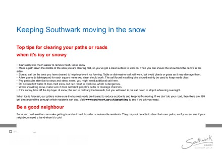 Keeping Southwark moving leaflet