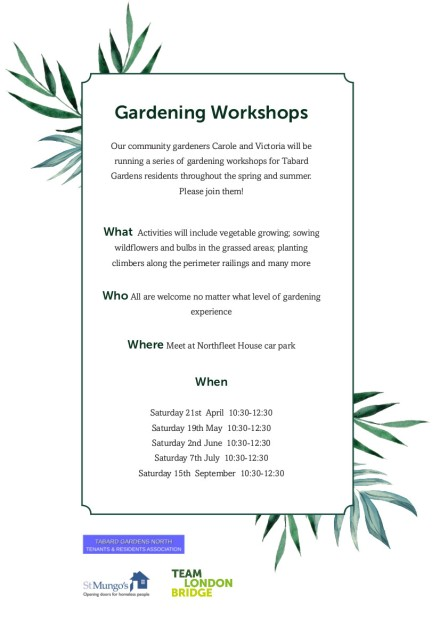 Gardening Workshops Tabard Gardens