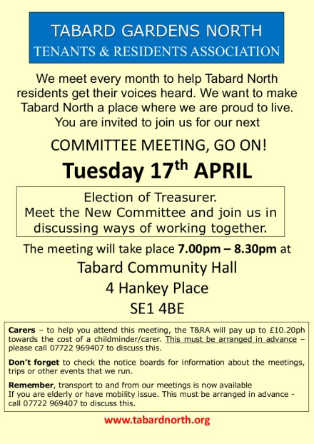 Committee Meeting colour 17th April