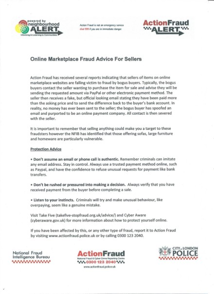 Online MarketPlace Fraud Advice For Sellers