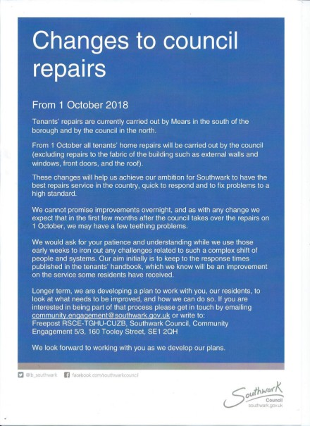 Changes to Council Repairs - October 2018